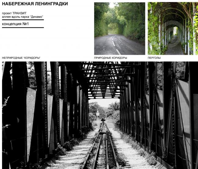 "Examples: natural and man-made corridors. Concept of ""Dinamo"" Boulevard. Author: Anastasia Rozhkova"