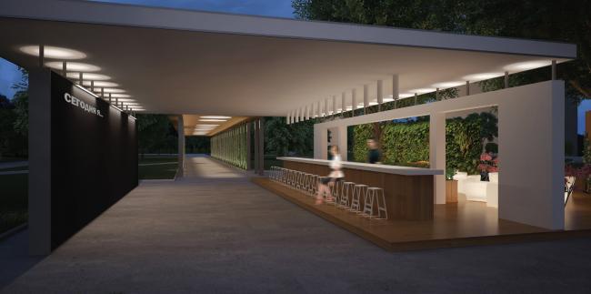 "Visualization of the summer cafe. Concept of ""Dinamo""Boulevard. Author: Anastasia Rozhkova"