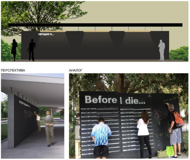 "Self-expression wall. Concept of ""Dinamo""Boulevard. Author: Anastasia Rozhkova"