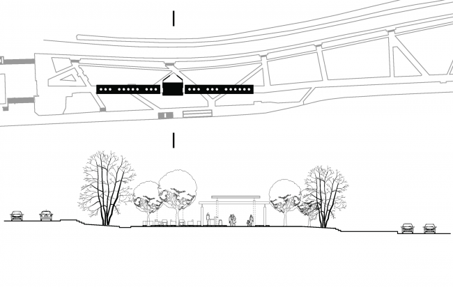 """Diagrams of the location of the covered passage on the master plan and the cross section of the boulevard. Concept of """"Dinamo""""Boulevard. Author: Anastasia Rozhkova"""