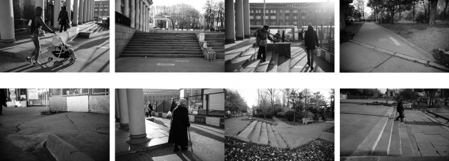 "Environment accessibility analysis. Photo fixation of existing situation. Concept of ""Dinamo"" Boulevard. Author: Daria Gerasimova"