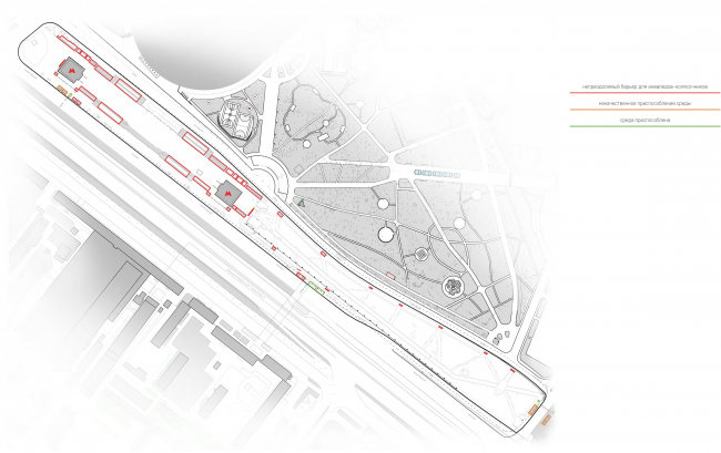 "Environment accessibility analysis. Map of the problem spots. Concept of ""Dinamo"" Boulevard. Author: Daria Gerasimova"