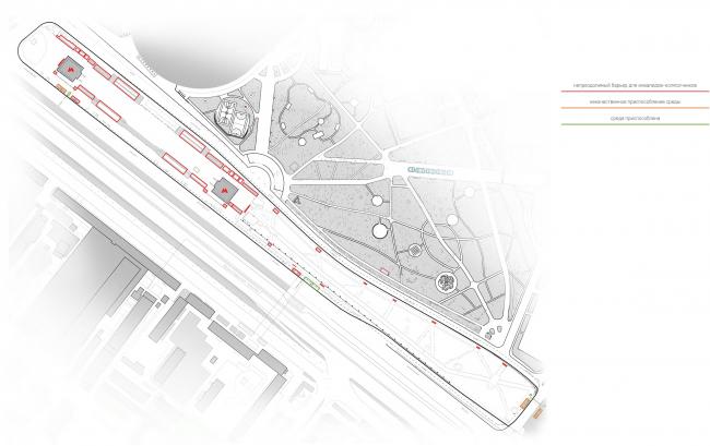 "Environment accessibility analysis. Map of the problem spots. Concept of ""Dinamo"" Boulevard. Author: Daria Gerasimova"
