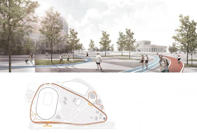 "Bicycle track from ""Praktika""Bureau. Concept of ""Dinamo"" Boulevard. Author: Daria Gerasimova"