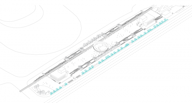"""Overview with the bicycle station. Concept of """"Dinamo"""" Boulevard. Author: Daria Gerasimova"""