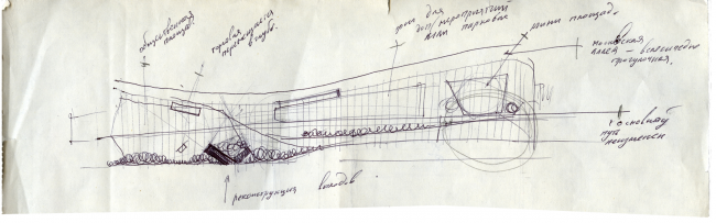 """Sketch of new zoning of the boulevard. Concept of """"Dinamo"""" Boulevard. Author: Anton Timofeev"""