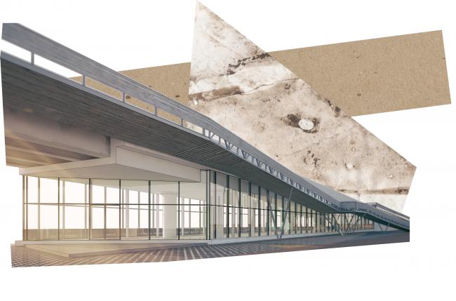 "Glazed venue beneath the flyover and the ""crutch"". Concept of ""Dinamo"" Boulevard. Author: Anton Timofeev"
