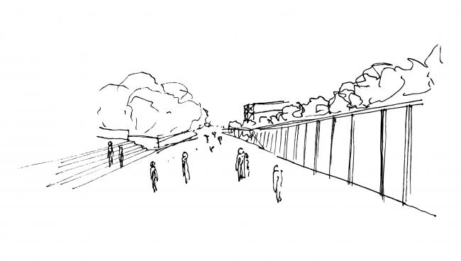 Эскизы модульной конструкции и расположенной за ней площади. Концепция бульвара «Динамо». Автор: Андрей Фомичев