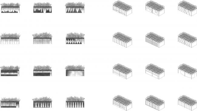 "Facade solutions. Concept of ""Dinamo"" Boulevard. Author: Andrew Fomichev."