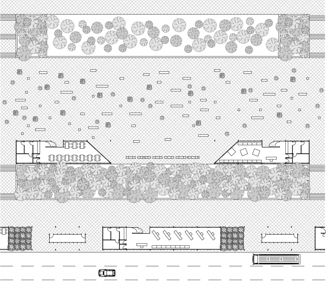 """Example of placing the benches and the tubs on the square on a regular day. Concept of """"Dinamo"""" Boulevard. Author: Andrew Fomichev."""