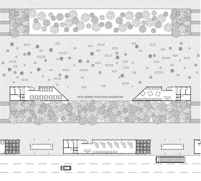 Вариант расположения скамей и кадок на площади в обычные дни. Концепция бульвара «Динамо». Автор: Андрей Фомичев