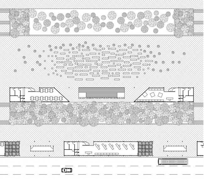 Вариант организации пространства площади под уличный концерт. Концепция бульвара «Динамо». Автор: Андрей Фомичев