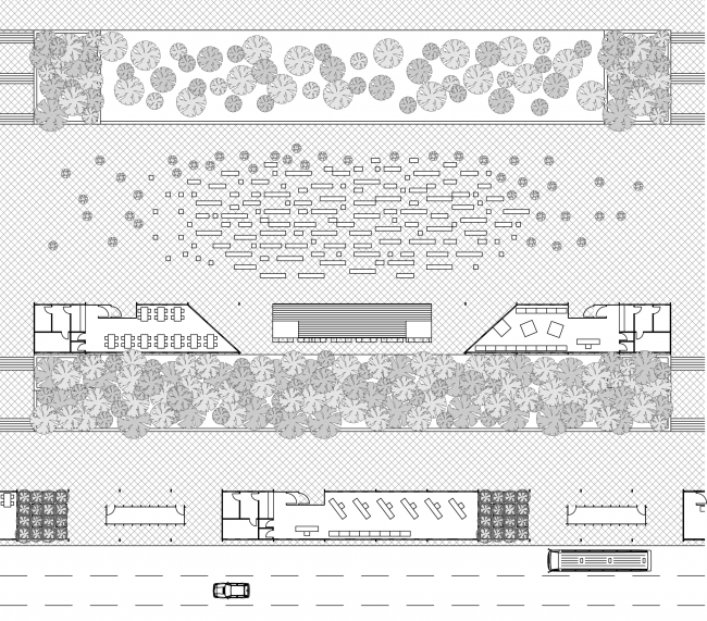 "Organizing the space for an open-air festival. Concept of ""Dinamo"" Boulevard. Author: Andrew Fomichev."