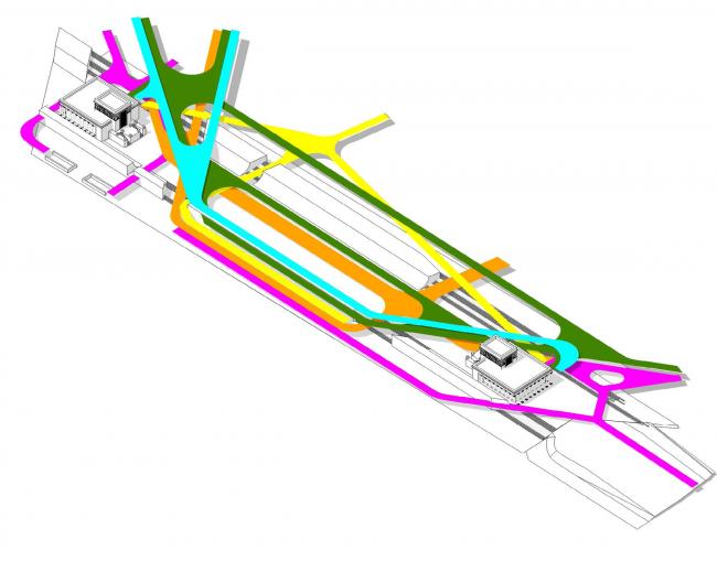 "Superposition of the pedestrian flows. Concept of ""Dinamo"" Boulevard. Author: Oleg Sazonov"
