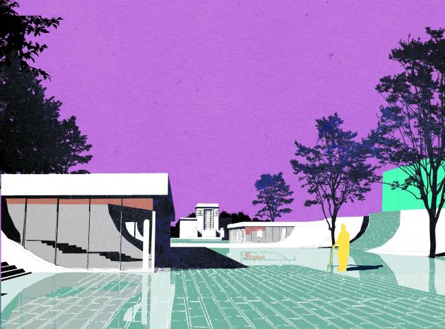 "Visualization of the enfilade. Concept of ""Dinamo"" Boulevard. Author: Oleg Sazonov"