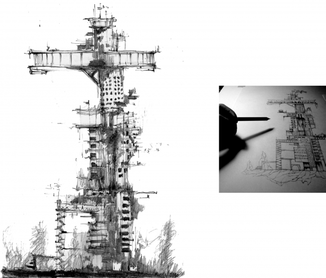"Sketch of Dinamo Tower. Concept of ""Dinamo""Boulevard. Author: Daria Zaitseva"