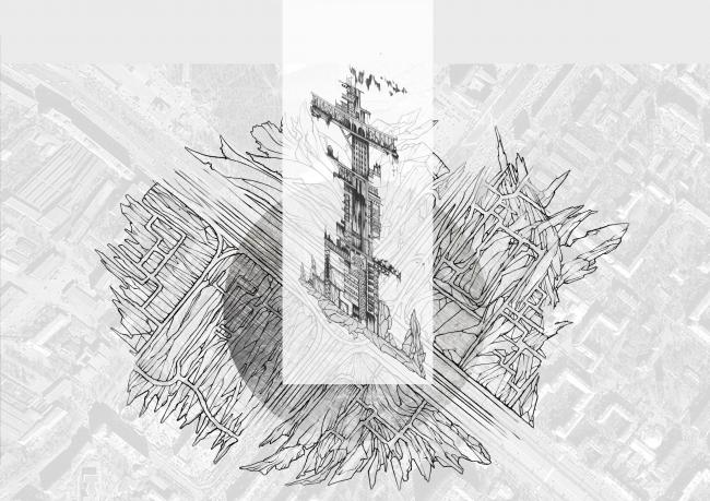 """Sketches of the Dinamo Tower. Concept of """"Dinamo"""" Boulevard. Author: Daria Zaitseva"""