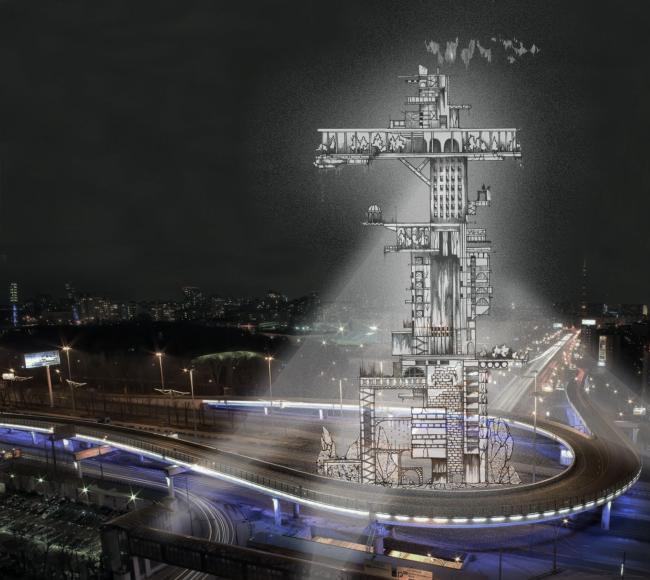 "Photomontage with Dinamo Tower. Concept of ""Dinamo"" Boulevard. Author: Daria Zaitseva"