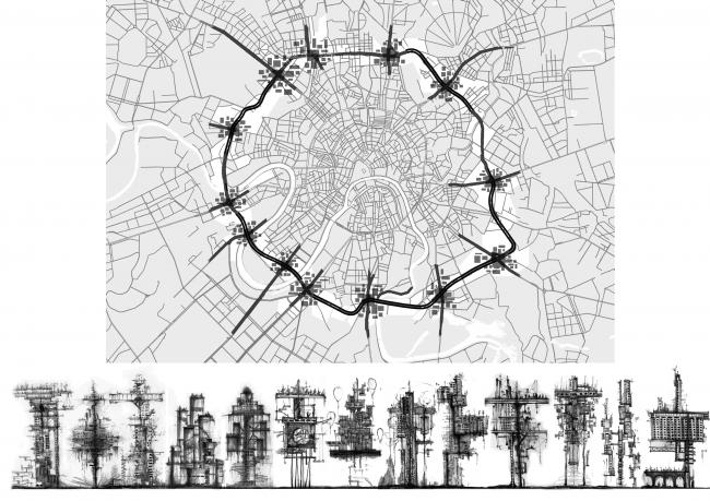 Места установки и эскизы 13 башен. Концепция бульвара «Динамо». Автор: Дарья Зайцева