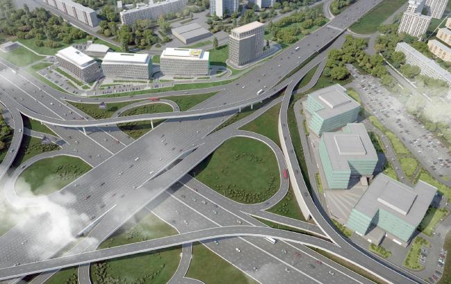 Расположение зданий офисно-делового центра «Западные ворота 2» относительно Можайского шоссе. Севернее шоссе–1 очередь, южнее–2 очередь© ABD architects
