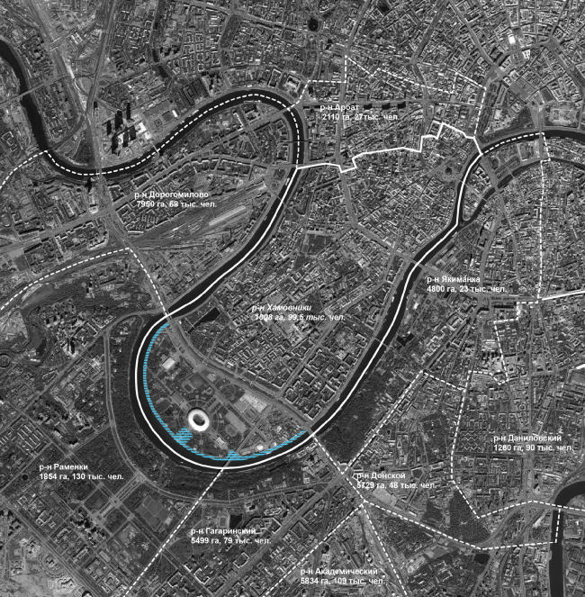 The location plan of the districts adjoining the Luzhnetskaya Embankment. Concept of developing the Luzhnetskaya Embankment © Wowhaus