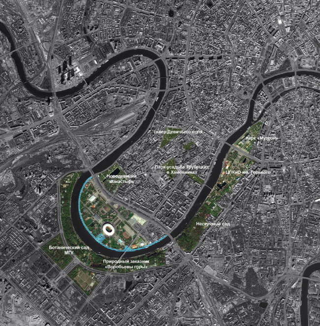 Recreational connection: location map of the Luzhnetskaya Embankment in respect to other parks in the center of Moscow. Concept of developing the Luzhnetskaya Embankment © Wowhaus