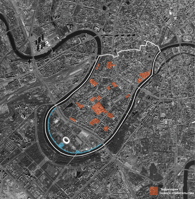 The inside-of-district potential; plan of the new-construction sites inside the district of Khamovniki. Concept of developing the Luzhnetskaya Embankment © Wowhaus