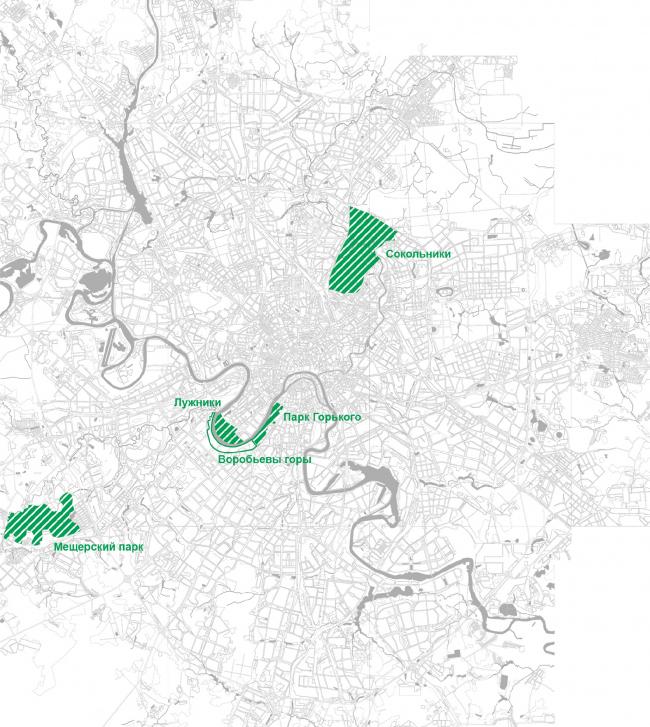 Три парка, с которыми архитекторы сравнивали Лужники в рамках проведенного ими «конкурентного анализа»: Сокольники, Парк Горького и Мешерский парк на МКАДом. Выяснилось, что в Лужниках лучше всего развита всесезонная спортивная инфрастуктура, а по территории они вторые. Большая площадь в Лужниках покрыта асфальтом: 43% территории, и только 8% занято зданиями. Концепция развития территории Лужнецкой набережной © Wowhaus