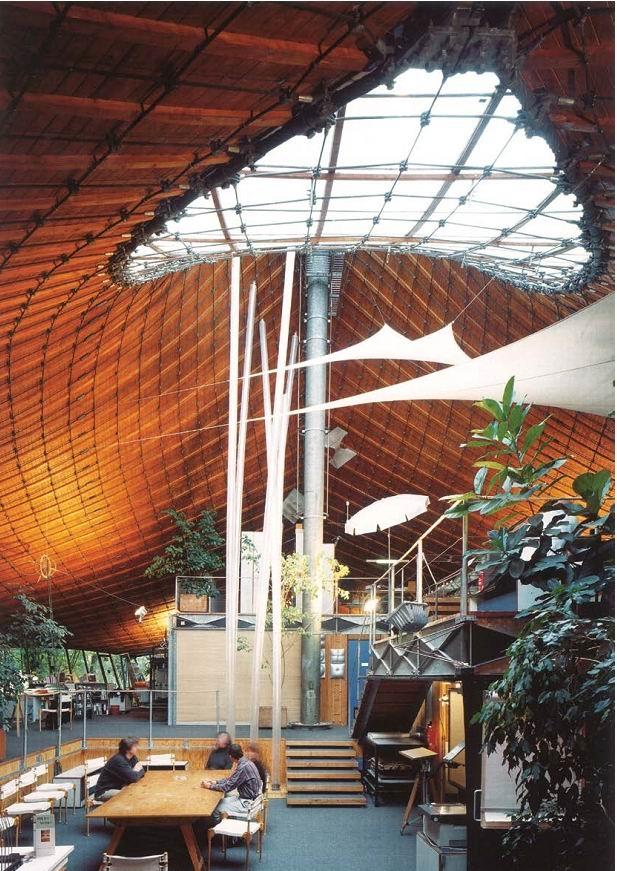 Основанный в 1964 Фраем Отто Институт лёгких поверхностно-несущих конструкций при Штутгартском университете. Здание, 1967 © Atelier Frei Otto Warmbronn