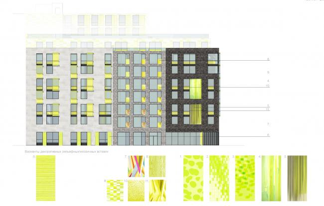 Варианты декоративных элементов фасада © Архитектурное бюро «А.Лен»