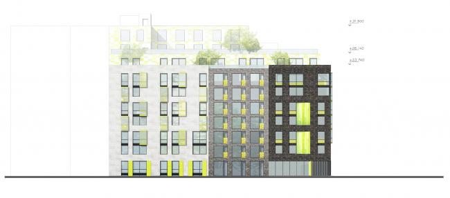 Фасад со стороны ул. Херсонская © Архитектурное бюро «А.Лен»