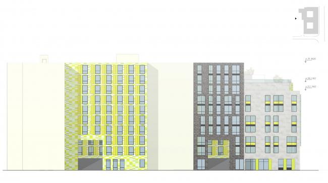 Фасад со стороны двора © Архитектурное бюро «А.Лен»