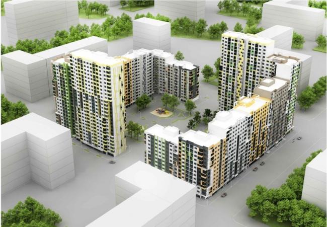 Серия панельных жилых домов. Вид сверху. Домостроительный комбинат «ЛСР»