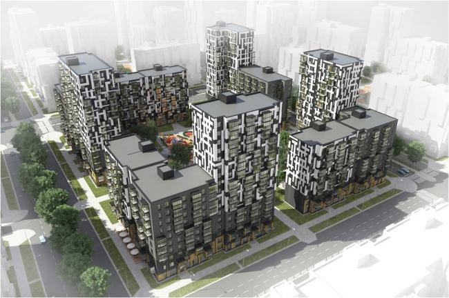 Серия индустриальных жилых домов. Вид сверху. Домостроительный комбинат «Нарострой»