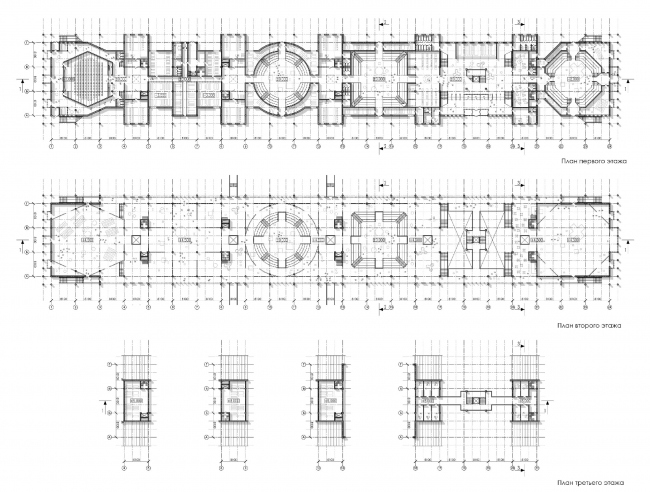 Plans of the floors. Concept of Science and Technology Museum in Tomsk © Studio 44