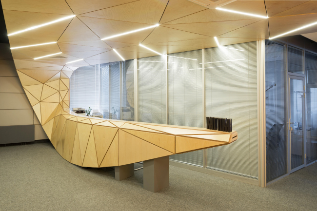The interior design of the reception area of MGPM © Totan Kuzembaev Architectural Studio