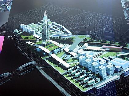 Охта-Центр (Газпром-Сити). Вид общего градостроительного решения района