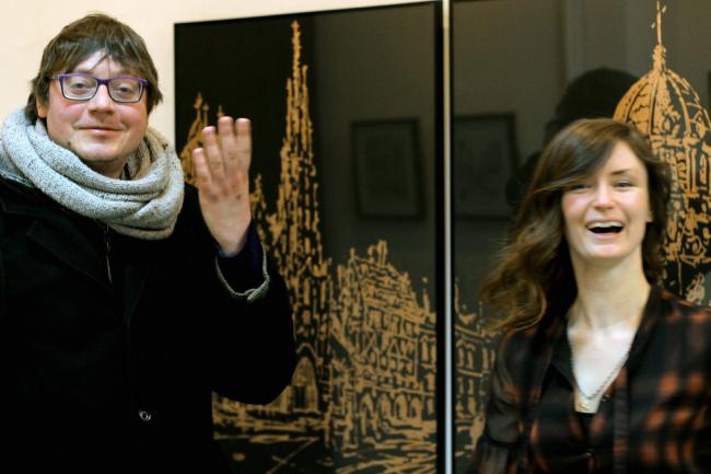 Сергей Хачатуров и куратор выставки Анастасия Докучаева. Фотография © Софья Ремез