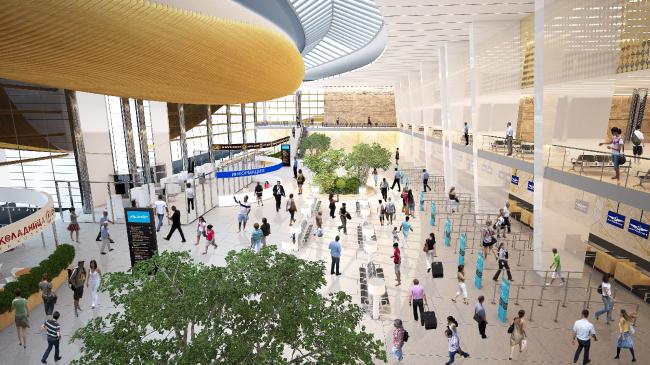 Интерьеры общественных зон терминала международного аэропорта «Большое Савино» в Перми © UNK project