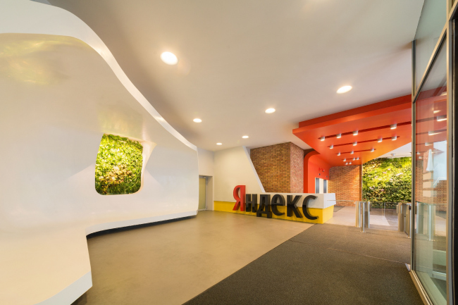 "Yandex HQ on Leo Tolstoy Street (second stage). Entrance group © ""Atrium"" Architectural Bureau"