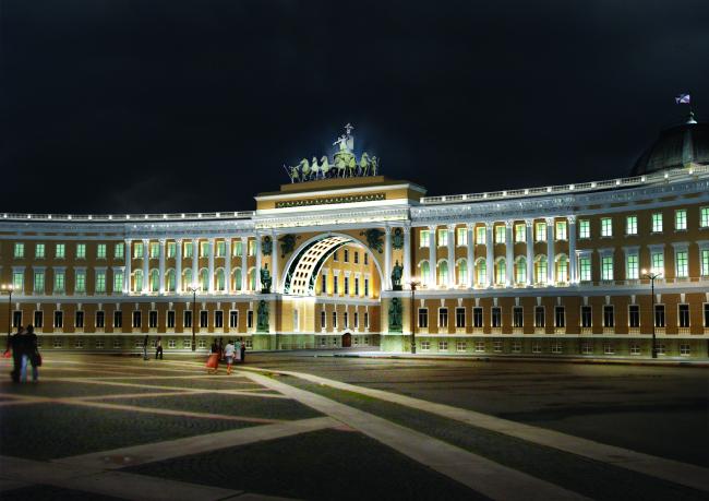 Концепция освещения фасада здания Эрмитажа (Главный штаб). Светотехническая компания «МТ Электро»