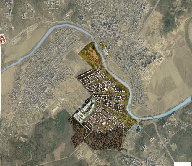 Проект жилой застройки в Звенигороде. Генеральный план, 2014 © Архитектуриум