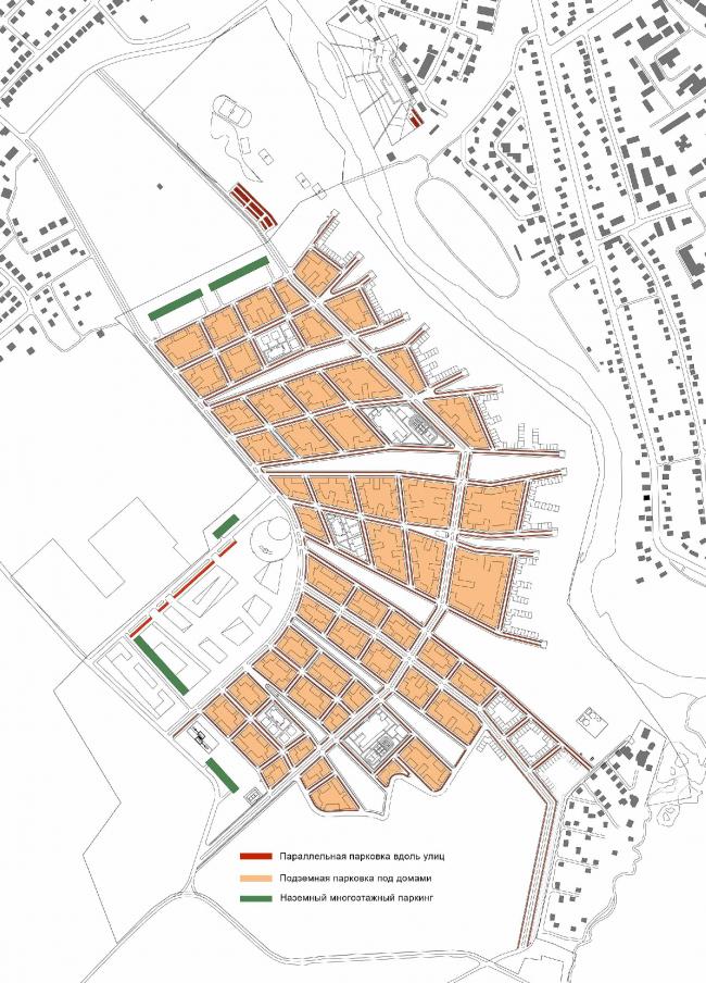Проект жилой застройки в Звенигороде. Схема парковки © Архитектуриум
