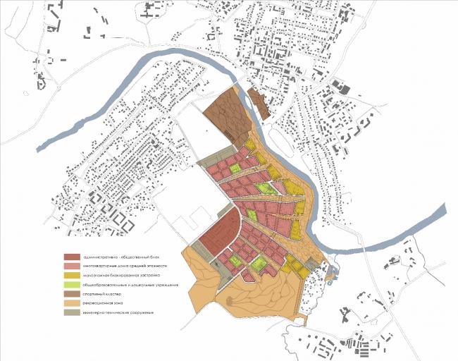 Проект жилой застройки в Звенигороде. Схема функционального зонирования © Архитектуриум