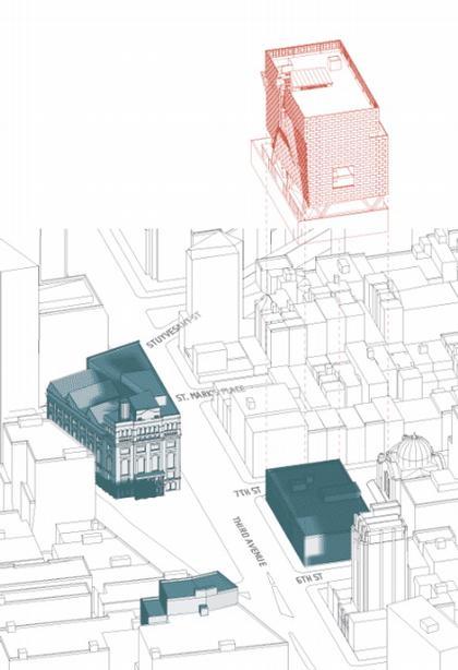 Новый учебный корпус Колледжа Купер-Юнион. Схема расположения здания относительно старого здания Купер-Юнион