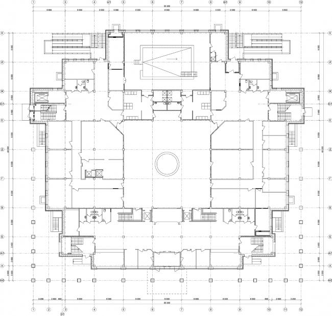 Центр социальной реабилитации инваидов и детей инвалидов. План 1 этажа. Постройка, 2010 © Архитектурная мастерская А.А. Столярчука