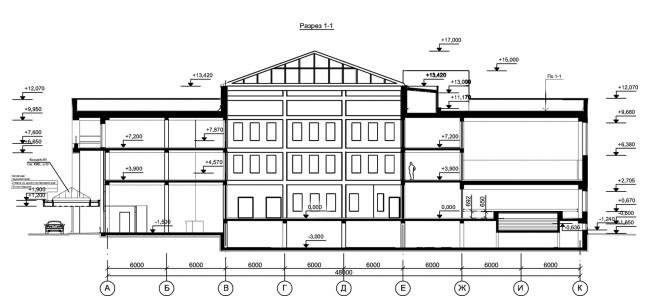 Центр социальной реабилитации инваидов и детей инвалидов. Разрез 1-1. Постройка, 2010 © Архитектурная мастерская А.А. Столярчука