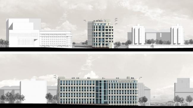 Архитектурное решение фасадов клинико-диагностического центра. Фасады © ГранПроектСити