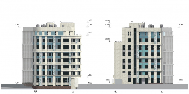 Architectural solution of the facades of the diagnostic and treatment center. Facade © GrandProjectCity