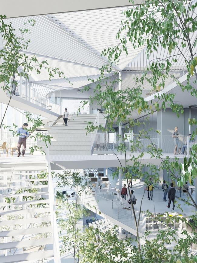 Учебный центр Политехнической школы на кампусе Париж-Сакле © Sou Fujimoto Architects, Nicolas Laisné Associés, Manal Rachdi Oxo Architectes, RSI-studio